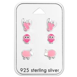 Ohrstecker Set 925 Sterling Silber mit pinken Motiven