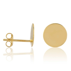 Ohrstecker 925 Sterling Silber gelbvergoldet mit Platte glänzend 10 mm