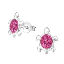 925 Sterling Silber Ohrstecker Schildkröte in pink