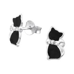 925 Sterling Silber Ohrstecker mit schwarzer Katze