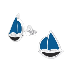 Ohrstecker 925 Sterling Silber mit Segelboot