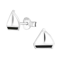 Ohrstecker 925 Sterling Silber mit Segelschiff