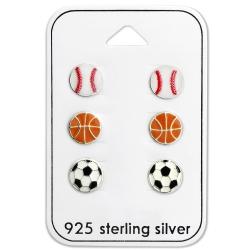 Ohrstecker Set 925 Sterling Silber Bälle
