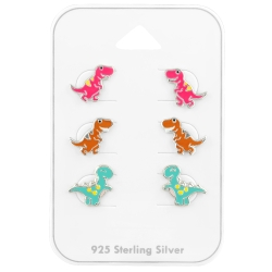 Ohrstecker Set 925 Sterling Silber Dinosaurier in verschiedenen Farben