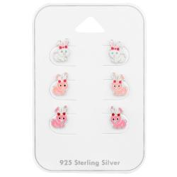 Ohrstecker Set 925 Sterling Silber Hasen in verschiedenen Farben