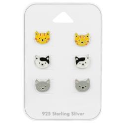 Ohrstecker Set 925 Sterling Silber Katzen in verschiedenen Farben