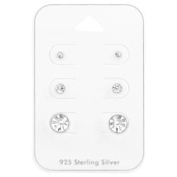 Ohrstecker Set 925 Sterling Silber mit Kristallen 2mm, 3mm, 6mm