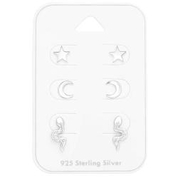 Ohrstecker Set 925 Sterling Silber mit Mond, Stern und Schlange