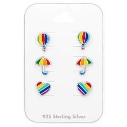 Ohrstecker Set 925 Sterling Silber Regenbogen