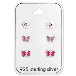 Ohrstecker Set 925 Sterling Silber Schmetterlinge und Blume