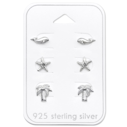Ohrstecker Set 925 Sterling Silber mit Strandmotiven
