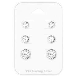 Ohrstecker Set 925 Sterling Silber mit Zirkonia 5-7mm
