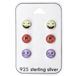 Ohrstecker Set 925 Sterling Silber mit Smileys