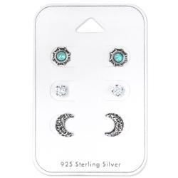 Ohrstecker Set 925 Sterling Silber Ethnischer Mond und Sonne