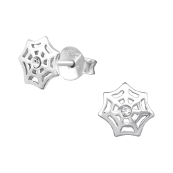 925 Sterling Silber Ohrstecker mit Spinnennetz