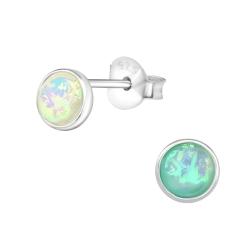925 Sterling Silber Ohrstecker mit synthetischem Opal in weiß oder grün