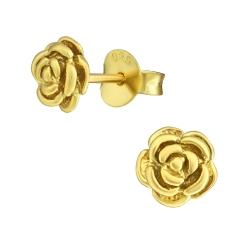 Ohrstecker 925 Sterling Silber vergoldet mit Rose