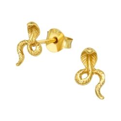 925 Sterling Silber Schlangen Ohrstecker vergoldet mit Kobra