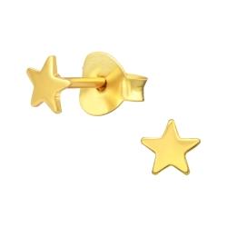 Ohrstecker 925 Sterling Silber vergoldet mit Stern 4mm