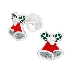 Ohrstecker 925 Sterling Silber mit Weihnachtsglocke