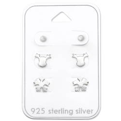 Ohrstecker Set 925 Sterling Silber mit Wintermotiven
