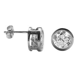 Ohrstecker 925 Sterling Silber mit gefassten Zirkonia 6mm in transparent