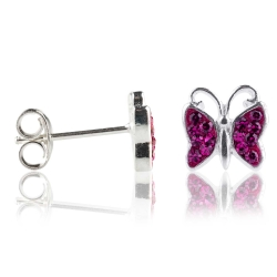 Ohrstecker 925 Sterling Silber Schmetterling mit Zirkonia in pink