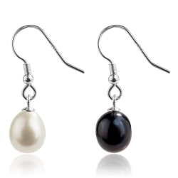 925 Sterling Silber Ohrhaken Ohrringe mit Süßwasserzuchtperle