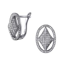 925 Sterling Silber Klappbrisuren Ohrringe oval mit Zirkonia
