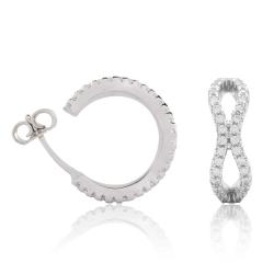 925 Sterling Silber Steckcreolen Ohrringe Infinity mit Zirkonia