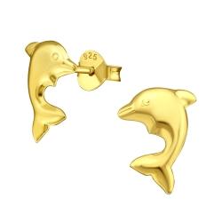 Ohrstecker 925 Sterling Silber vergoldet mit Delfin