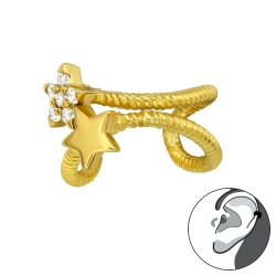 Ear Cuff 925 Sterling Silber Ohrklemme vergoldet mit Sternen und Zirkonia