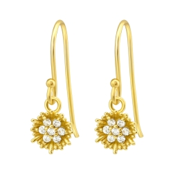 925 Sterling Silber Ohrhaken Ohrhänger vergoldet Blume mit Zirkonia