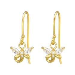 925 Sterling Silber Ohrhaken Ohrhänger vergoldet Libelle mit Zirkonia