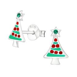 Ohrstecker 925 Sterling Silber mit Weihnachtsbaum