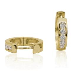 Creolen Ohrringe 925 Sterling Silber gelbvergoldet mit Zirkoniasteinen 15mm
