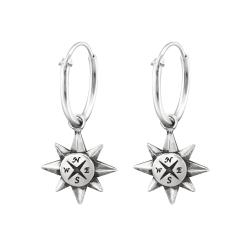 Creolen Ohrringe 925 Sterling Silber mit Kompass