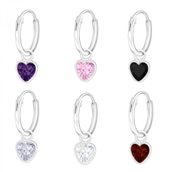 925 Sterling Silber Creolen Ohrringe mit Zirkonia-Herz in verschiedenen Farben