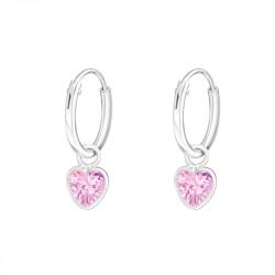 925 Sterling Silber Creolen Ohrringe mit Zirkonia-Herz in pink