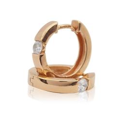 Ohrringe Creolen 925 Sterling Silber rosévergoldet mit Zirkonia 17mm