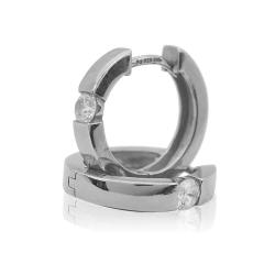 Ohrringe Creolen 925 Sterling Silber mit Zirkonia 17mm
