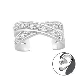 Ear Cuff 925 Sterling Silber Ohrklemme Kreuz mit Zirkonia