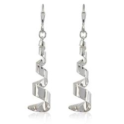 925 Sterling Silber Klappbrisuren Ohrringe mit Spirale