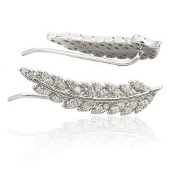 Ohrklemmen Ear Cuffs Feder 925 Sterling Silber mit Zirkonia