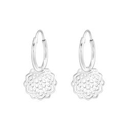 Creolen Ohrringe 925 Sterling Silber mit Blumenmuster