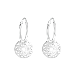 Creolen Ohrringe 925 Sterling Silber mit Sternenmuster