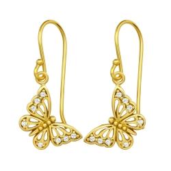925 Sterling Silber Ohrhaken Ohrhänger vergoldet Schmetterling mit Zirkonia