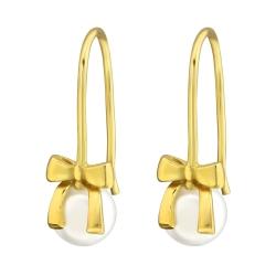 925 Sterling Silber Ohrhaken Ohrhänger vergoldet Schleife mit Perle