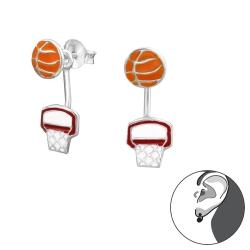 Ohrstecker 925 Sterling Silber Ear Jacket mit Basketball und Korb