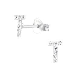 Buchstaben Ohrstecker 925 Sterling Silber T mit Kristallen